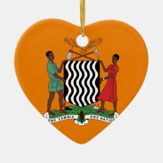 Presidential flag of Zambia Ceramic Heart Decoration