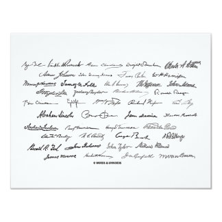 Presidential Signatures (United States Presidents) 11 Cm X 14 Cm Invitation Card