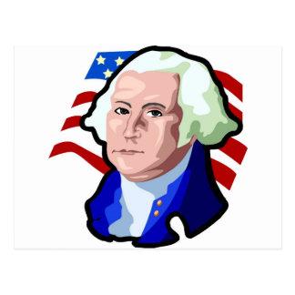 Presidents Day George Washington and USA Flag Postcard