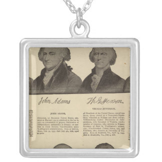 Presidents US, autographs, biographies 2 Silver Plated Necklace
