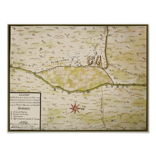 Presidio de San Ignacio de Tubac historic map Poster