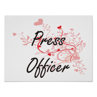 Press Officer Artistic Job Design with Hearts Poster