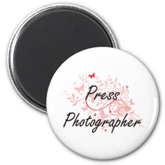 Press Photographer Artistic Job Design with Butter 6 Cm Round Magnet