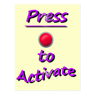 Press To Activate Post Card