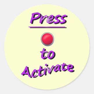 Press To Activate Round Sticker