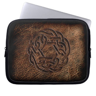 Pressed celtic knot on geniune leather laptop sleeve