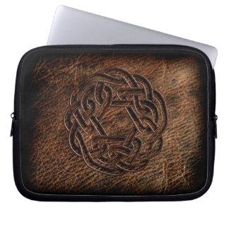 Pressed celtic knot on geniune leather laptop sleeves