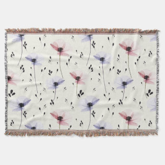 Pressed Floral Print Throw