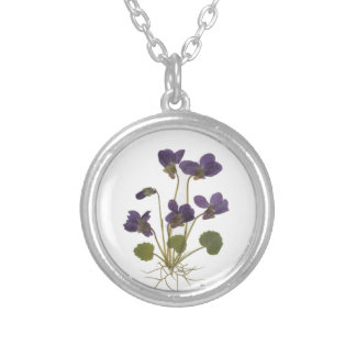 Pressed Flower Design Silver Plated Necklace