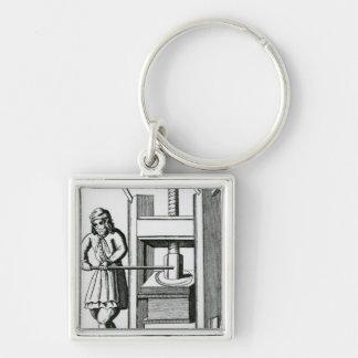 Pressing books Silver-Colored square key ring