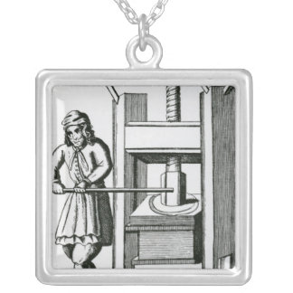 Pressing books silver plated necklace