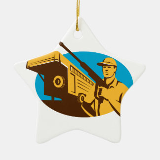 Pressure Washer Cleaner Worker Trailer Retro Christmas Ornament