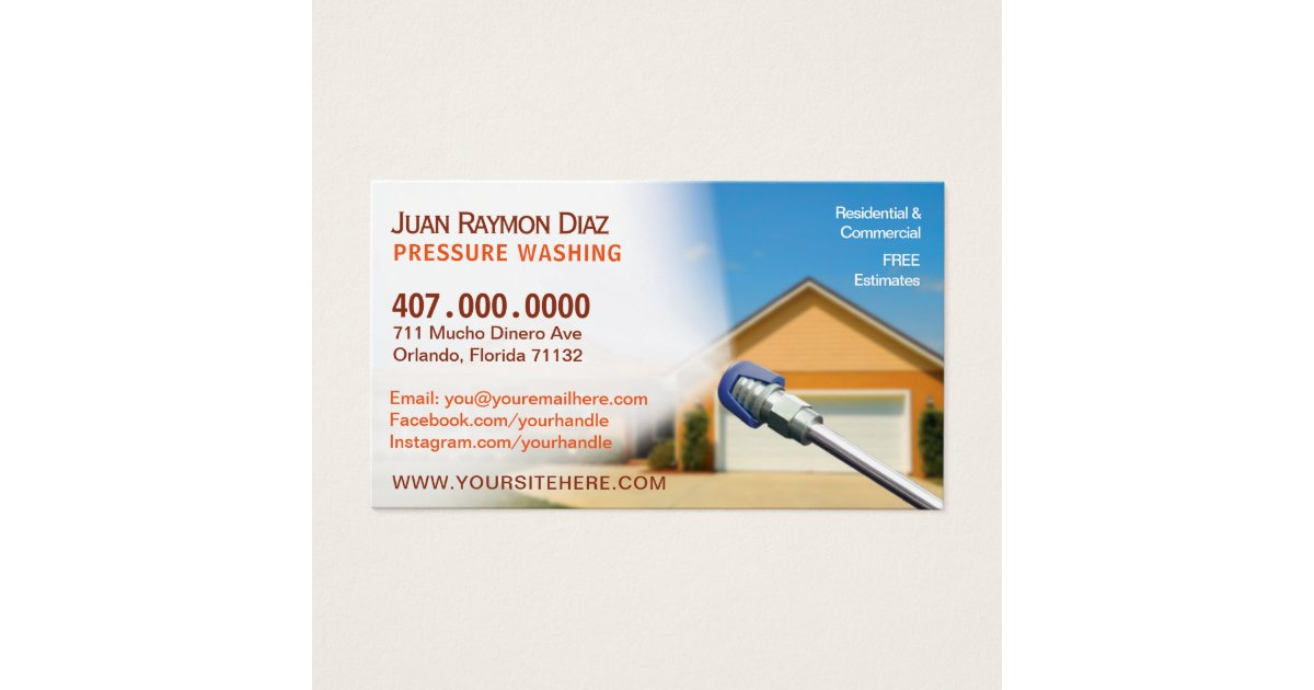 Pressure Washing & Cleaning Business Card Template   Zazzle.co.uk