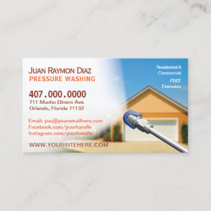 Washer business cards zazzle uk pressure washing cleaning business card template wajeb Choice Image