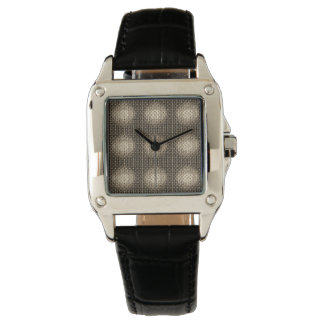 Pretious Perfect Square Black Leather Wristwatch