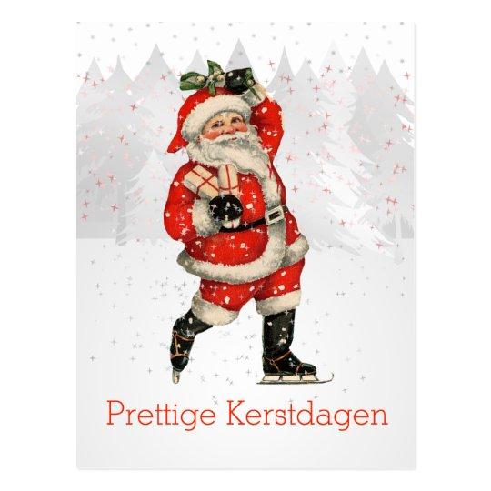 Prettige Kertsdagen Dutch Vintage Santa Skating Postcard