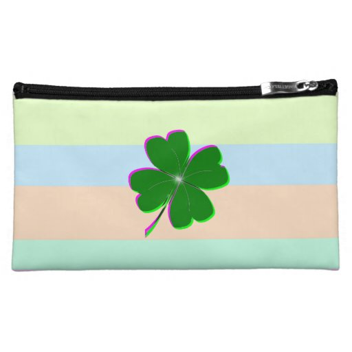 Pretty 4-Leaf Clover on Pastel Stripes Makeup Bags