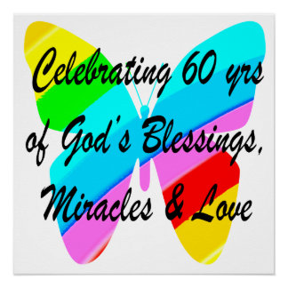 PRETTY 60TH BIRTHDAY RAINBOW BUTTERFLY DESIGN