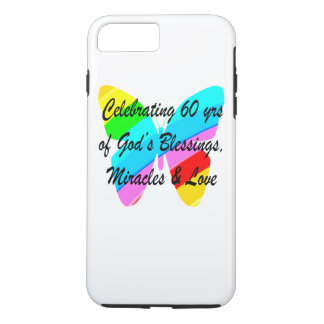 PRETTY 60TH BIRTHDAY RAINBOW BUTTERFLY DESIGN iPhone 7 PLUS CASE