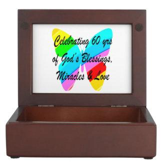 PRETTY 60TH BIRTHDAY RAINBOW BUTTERFLY DESIGN KEEPSAKE BOX