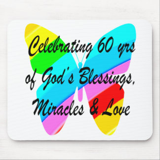 PRETTY 60TH BIRTHDAY RAINBOW BUTTERFLY DESIGN MOUSE PAD