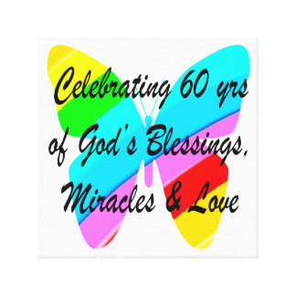 PRETTY 60TH BIRTHDAY RAINBOW BUTTERFLY DESIGN STRETCHED CANVAS PRINTS