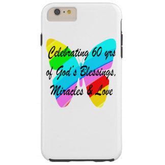 PRETTY 60TH BIRTHDAY RAINBOW BUTTERFLY DESIGN TOUGH iPhone 6 PLUS CASE