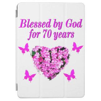 PRETTY 70TH PINK FLORAL BIRTHDAY DESIGN iPad AIR COVER