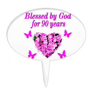 PRETTY 90TH BIRTHDAY FLORAL CAKE TOPPERS