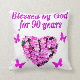 PRETTY 90TH BIRTHDAY FLORAL CUSHION