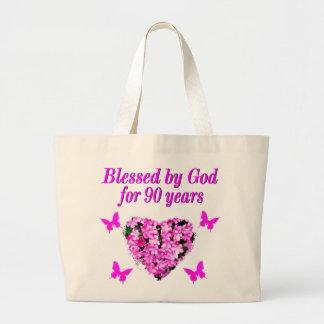 PRETTY 90TH BIRTHDAY FLORAL JUMBO TOTE BAG