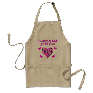 PRETTY 90TH BIRTHDAY FLORAL STANDARD APRON