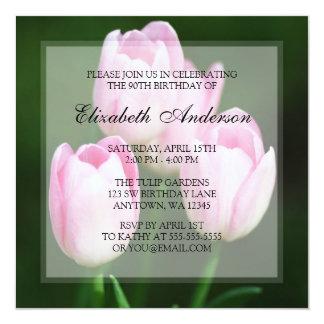 Pretty 90th Birthday Pink Tulips Party 13 Cm X 13 Cm Square Invitation Card