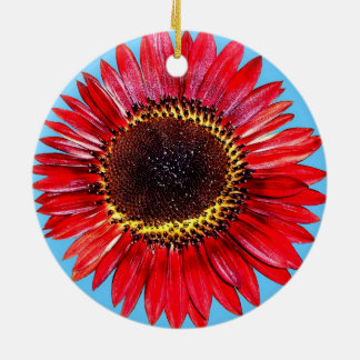 Pretty Abstract Autumn Beauty Sunflower on Blue Christmas Ornament
