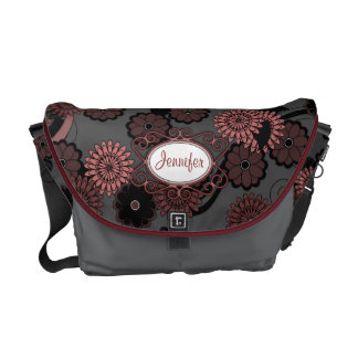 Pretty Abstract Floral Pattern in Dark Grey & Pink Commuter Bags