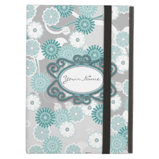 Pretty Abstract Floral Pattern in Teal and Grey iPad Air Cover