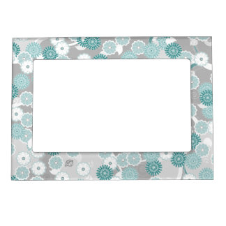 Pretty Abstract Floral Pattern in Teal and Grey Magnetic Picture Frame