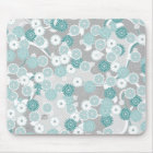 Pretty Abstract Floral Pattern in Teal and Grey Mouse Mat