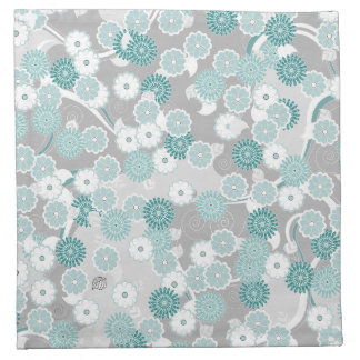 Pretty Abstract Floral Pattern in Teal and Grey Napkin