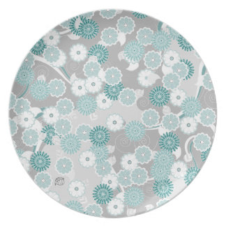 Pretty Abstract Floral Pattern in Teal and Grey Plate