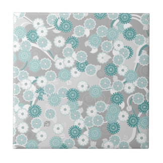 Pretty Abstract Floral Pattern in Teal and Grey Tile