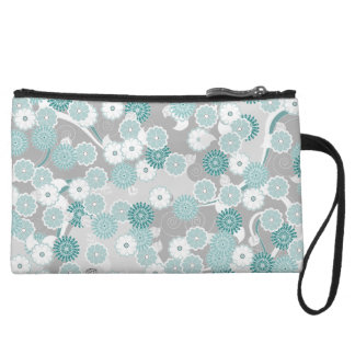 Pretty Abstract Floral Pattern in Teal and Grey Wristlet