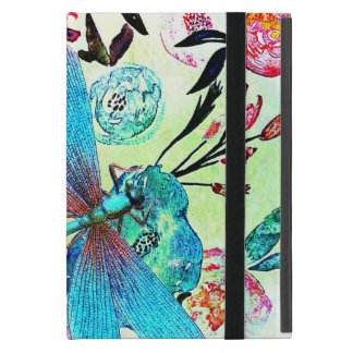 Pretty Abstract Floral with Blue Dragonfly Case For iPad Mini