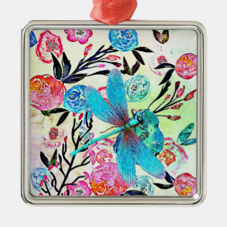 Pretty Abstract Floral with Blue Dragonfly Christmas Ornament