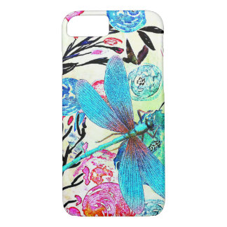 Pretty Abstract Floral with Blue Dragonfly iPhone 8/7 Case