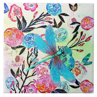 Pretty Abstract Floral with Blue Dragonfly Tile