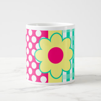 Pretty Abstract Girly Gingham Polka Dots Pattern Large Coffee Mug