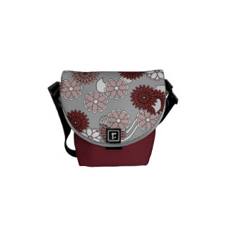 Pretty Abstract Pattern in Muted Pink and Maroon Courier Bags