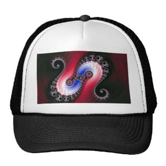 Pretty Abstract Swirl Red Blue Hats