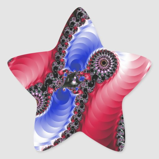 Pretty Abstract Swirl Red Blue Star Sticker